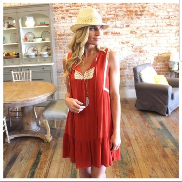 Infinity Raine Dresses & Skirts - Boho dress with crochet trim